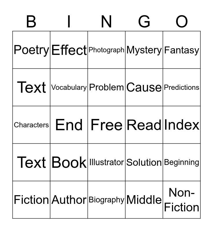 Rock & Roll With Reading Bingo Card