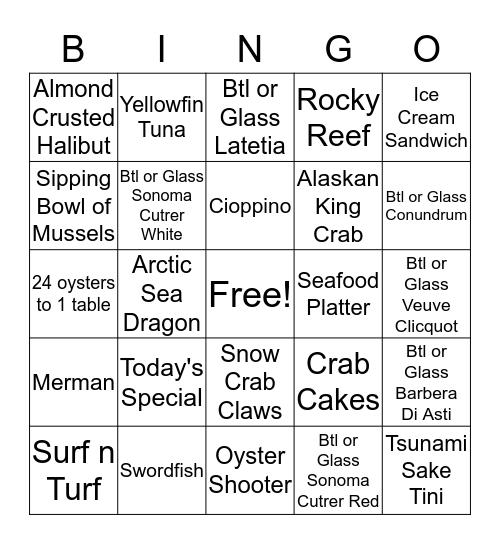 1st - $30, 2nd - $20, 3rd - $10 Bingo Card