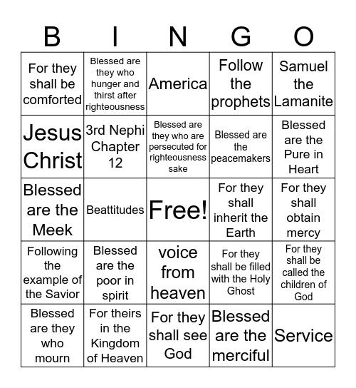 Beattitude Bingo  Bingo Card