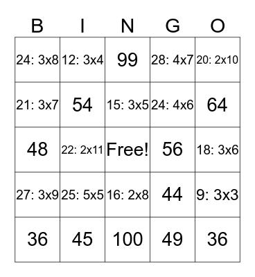 Math Bingo Card