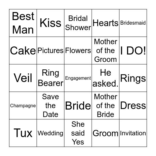 Sarah's Bridal Shower Bingo Card