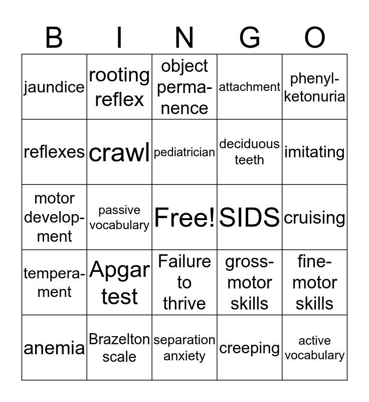 Child Development Bingo Card