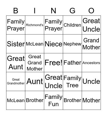 McLean/Richmond Family Reunion Bingo Card