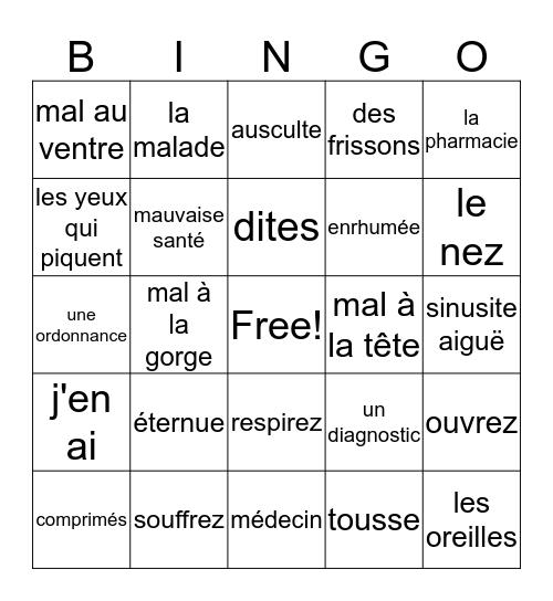 La santé Bingo Card