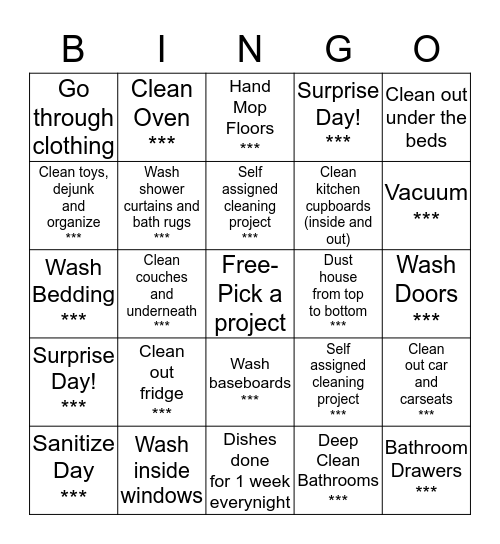 Clean Mama Cleango Bingo Card