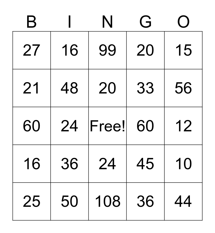 Multiplication Bingo Card