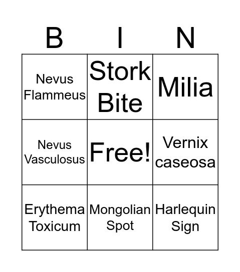 Common Skin Variations  Bingo Card