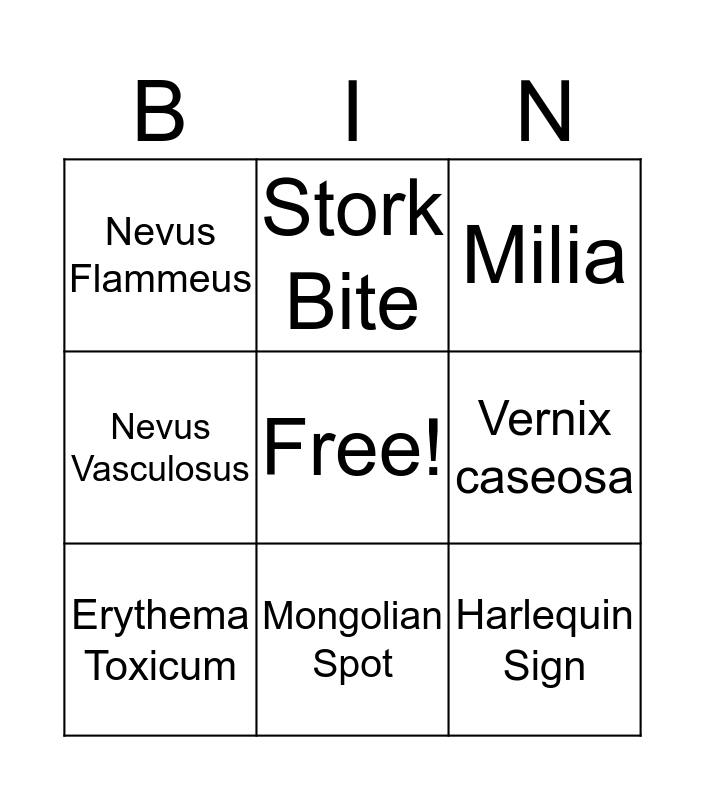Common Skin Variations  Bingo Card