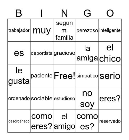 Vocabulario Capitulo 1A Bingo Card
