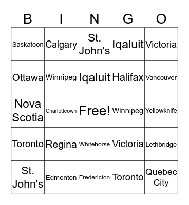 Capital Cities in Canada Bingo Card