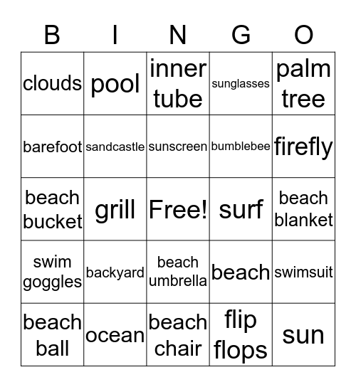 Farewell to Summer Bingo Card