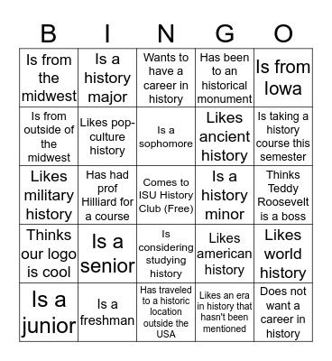 ISU History Club Bingo Card
