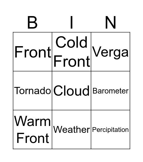 Weather - CSE Bingo Card