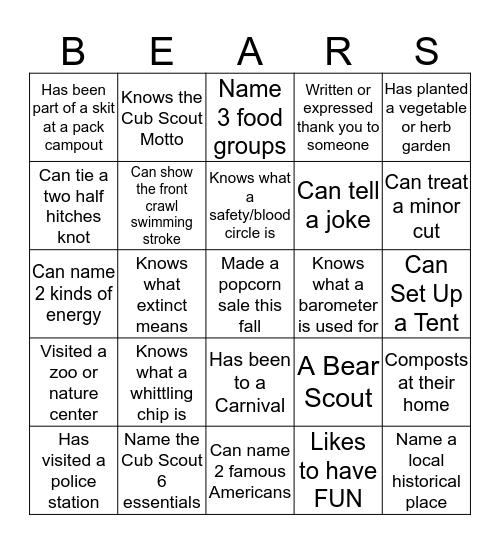 Cub Scout Bears Den 6 Bingo Card