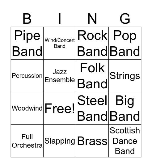 Instrumental Groups Bingo Card