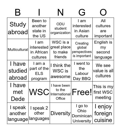 World Student Club Bingo Card