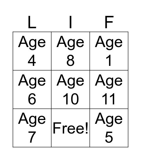 Jonas Life Events  Bingo Card