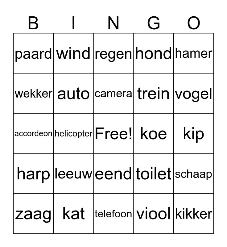 hv esc'90   geluiden Bingo Card