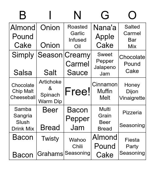 Tastefully Simple Bingo Card