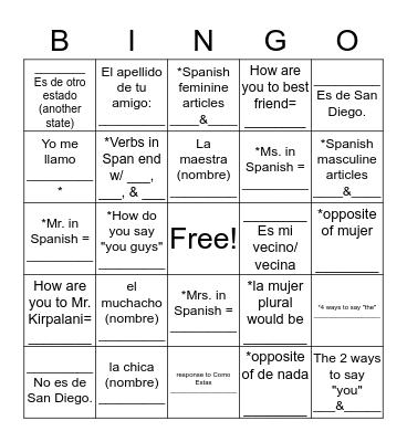 Unit 1 Etapa 1 Bingo Card