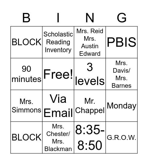 Eighth Grade  Bingo Card