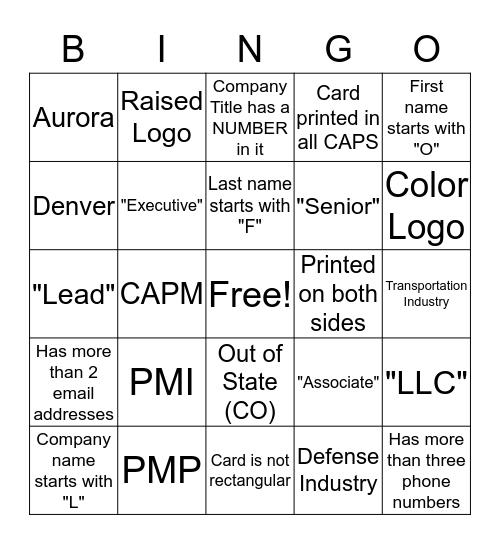 Speed Mentoring Bingo Card