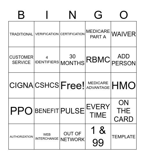 CERNER REGISTRATION Bingo Card