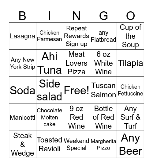 Lupo Bingo #1 Bingo Card
