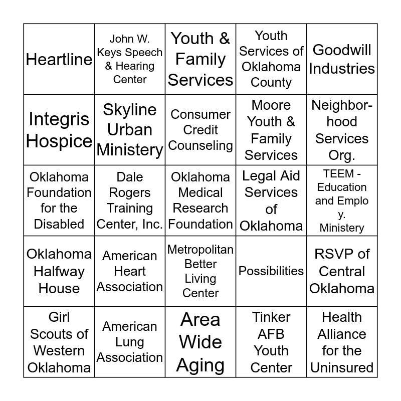 UNITED WAY BINGO- Round 2 Bingo Card