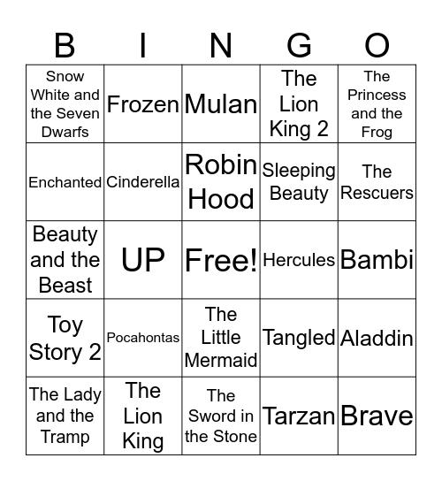 Disney Love Songs Bingo Card