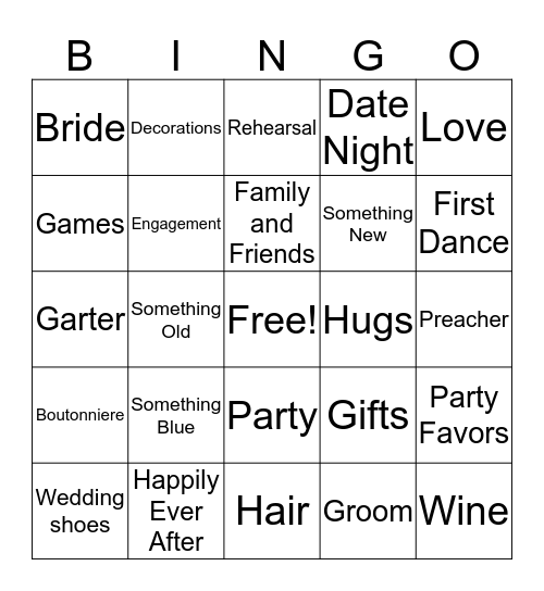 Bridal Shower Bingo Card