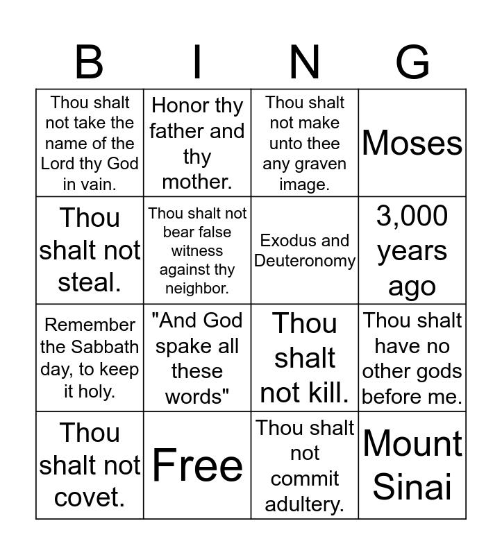 Ten Commandment Bingo Card