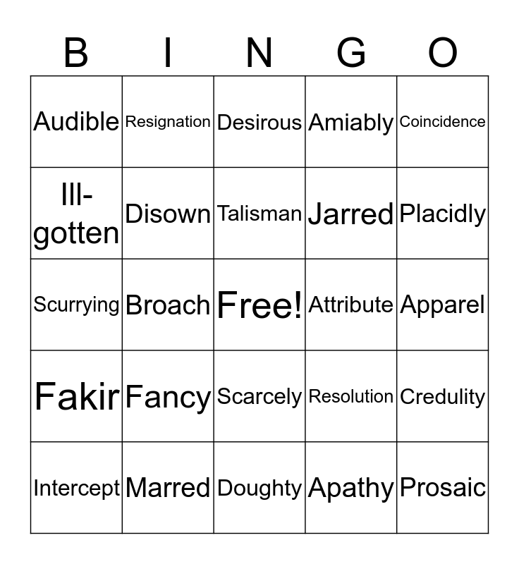 Monkey's Paw Vocabulary Bingo Card