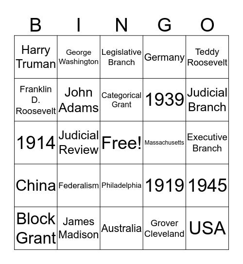 AP Government Bingo Card