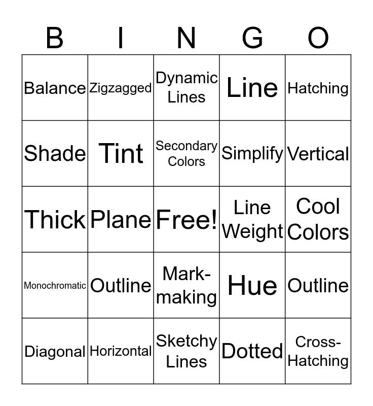 Line and Color Vocabulary BINGO Card