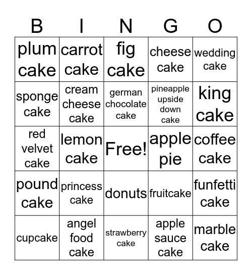 types of cake  Bingo Card