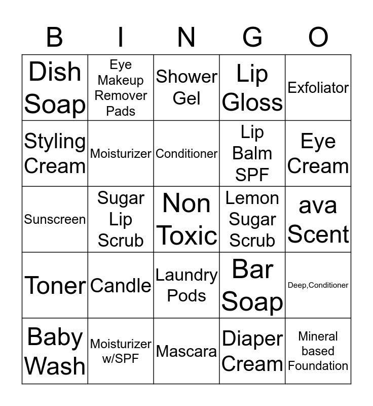 Ava Anderson Non-Toxic Bingo Card