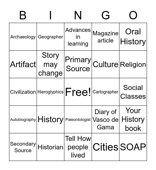 Social Studies 7 Bingo Card
