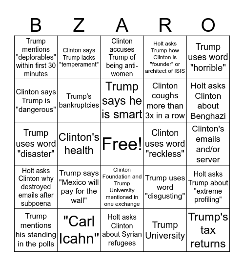 BIZZARO Bingo Card