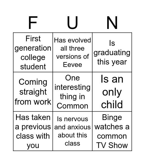 Nice to Meet You Bingo Card