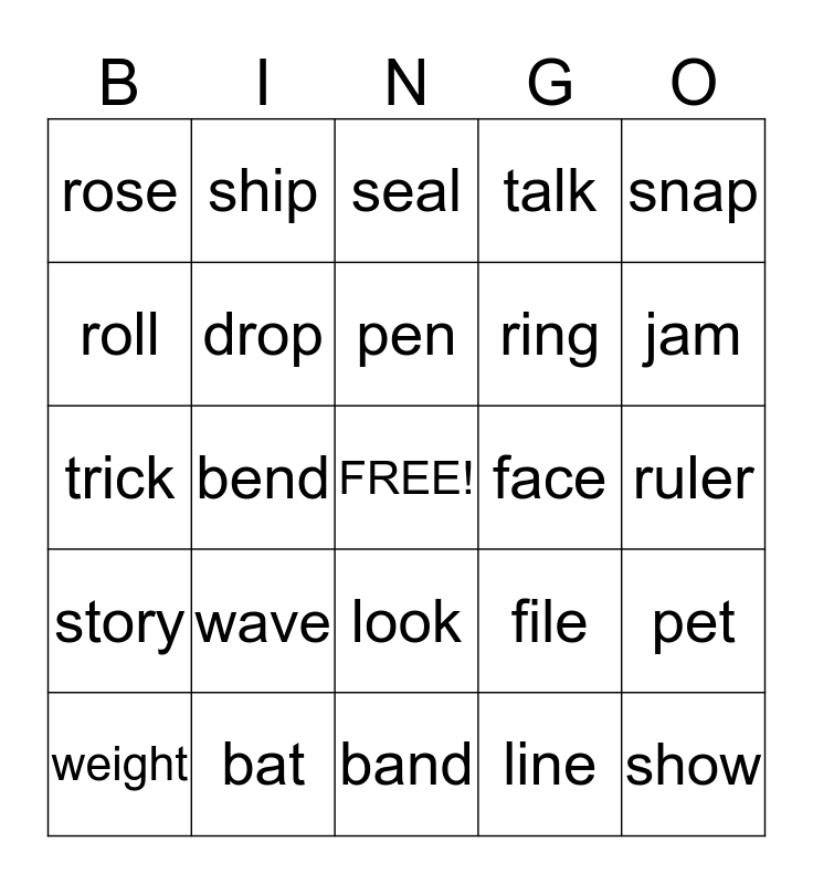 Multiple Meaning Words Bingo Card