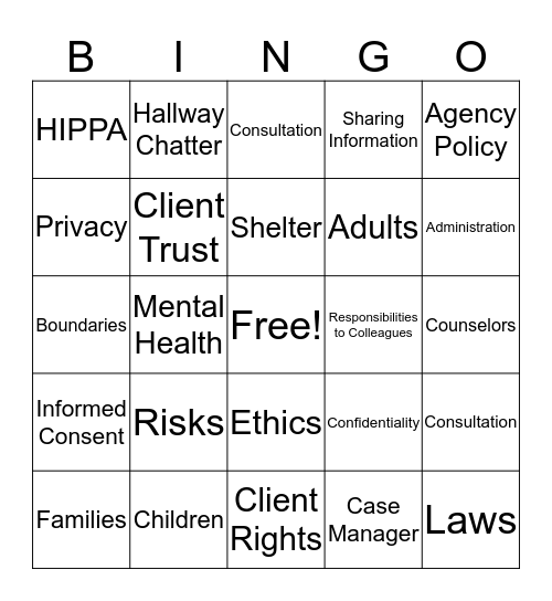 HIPPA and Confidentiality Bingo Card