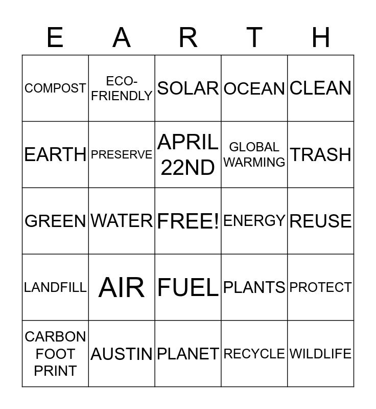 Happy 2013 Earth Day Bingo! Bingo Card