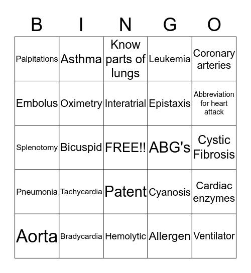 Cardiac bingo! Bingo Card