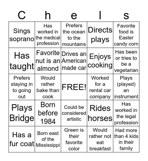 Chelsea's Shower Bingo Card
