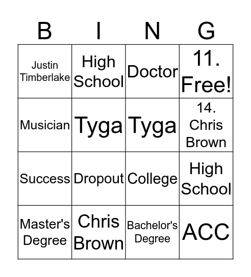 Job Readiness Bingo Card