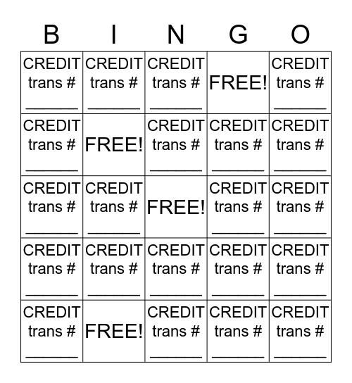 JCP CREDIT  BINGO  (GO TEAM!!!!) Bingo Card