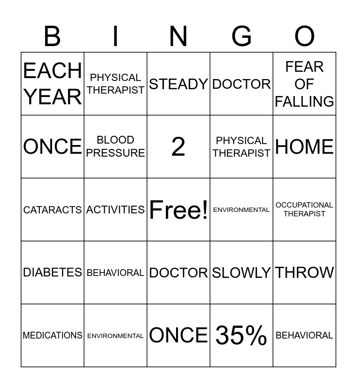 FALL PREVENTION Bingo Card