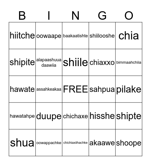 C   R   O   W Bingo Card