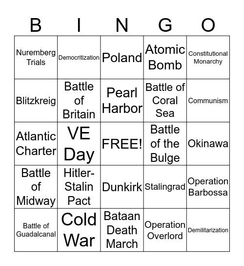 WWII Bingo Card